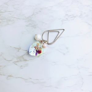 Crystal Heart and Pearl Clip - S14