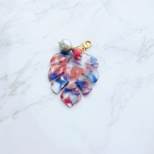 Pink and Blue Transparent Acrylic Monstera Leaf Charm with Pearls - G24