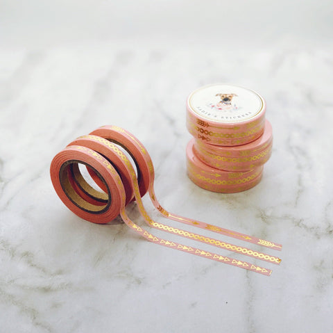 Pink Gold Foil Pattern Skinny Washi Tape Set of 3