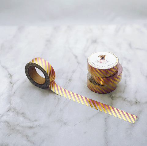 Pink Gradient Gold Foil Stripes Washi Tape