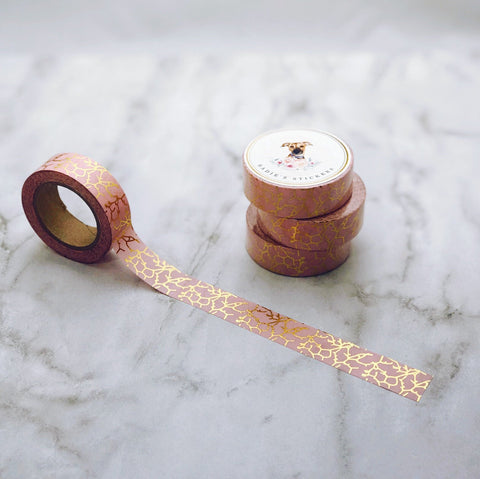 Coral and Gold Foil Marble Washi Tape