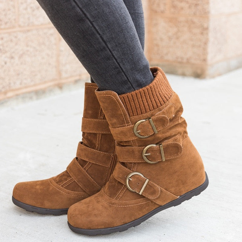 Women Warm Faux Suede Ankle Snow Boots Female Comfortable Buckle Strap Flat Boots Winter Plush Flat Heel Boots SNE-189