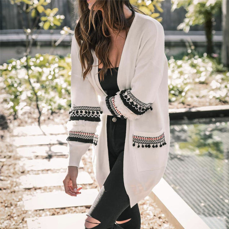 Loose Tassels Long Sleeve Knitted Coat