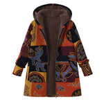 Plus Size Women Retro Hooded Ethnic Printed Faux Fluffy Thin Coat Jackets