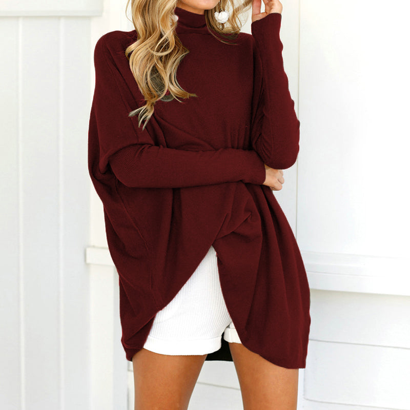 Ladies Pullovers Long Sleeve Turtleneck Top Solid Casual Baggy Shirt