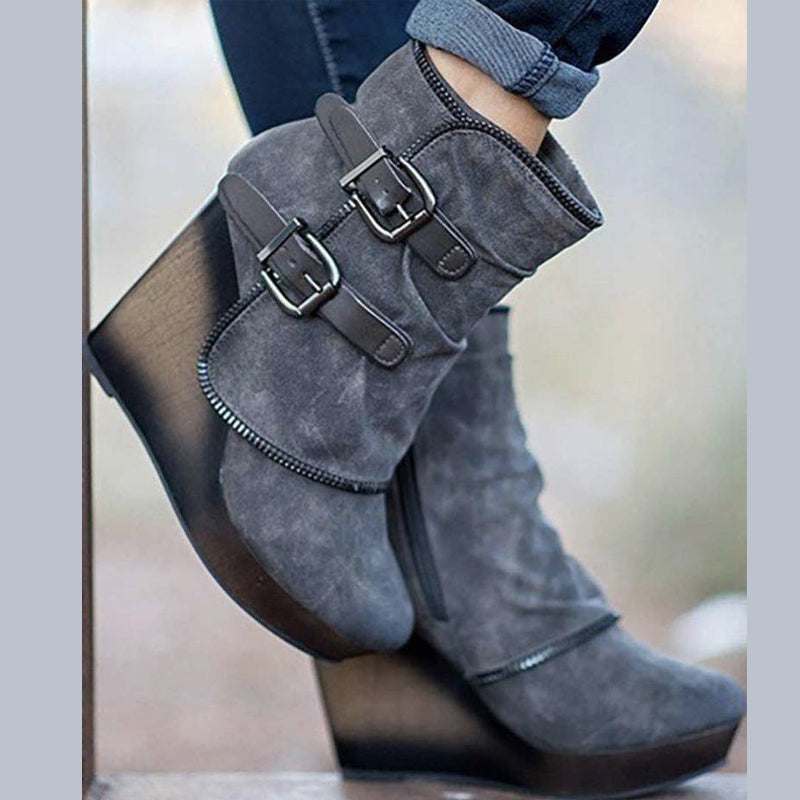 Women Buckle Martin Wedges  Boots