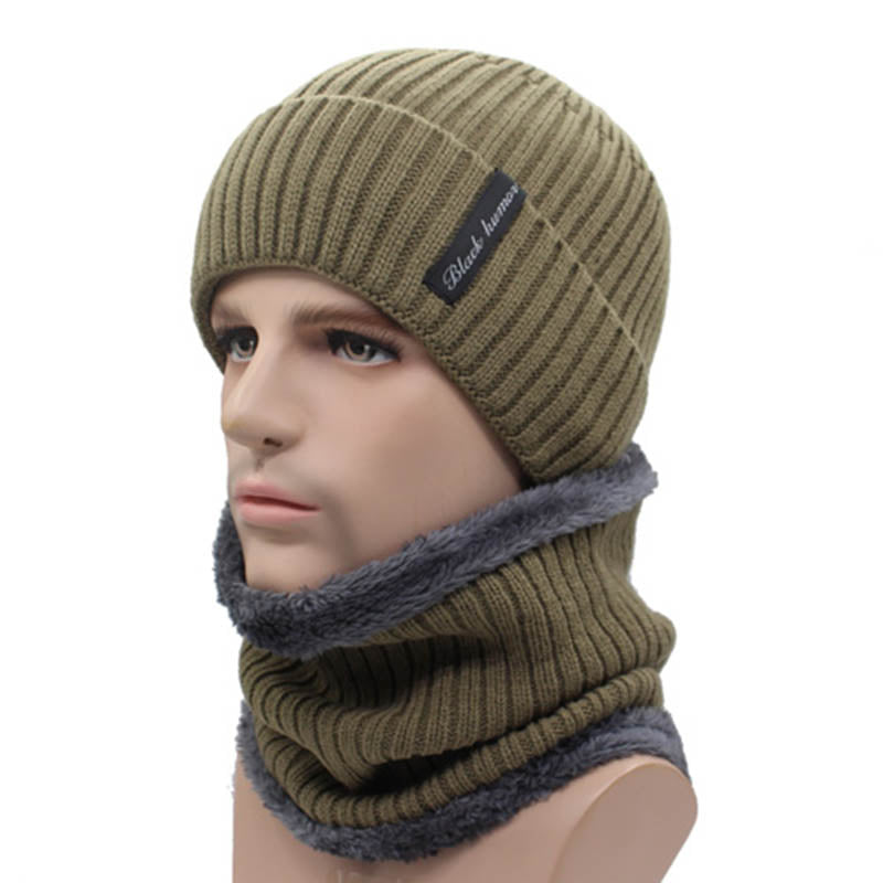 Men Knitted Scarf Mask Hat