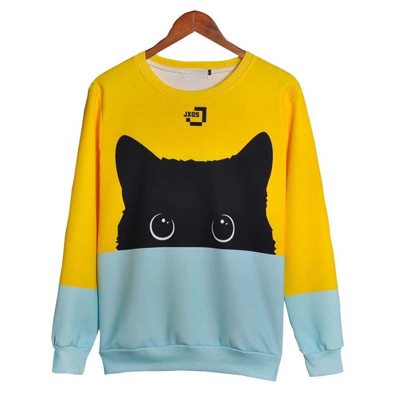 Cute Cat Hoodies 3d Sweatshirt Women Men Kawaii Black Cat Hoody Animal Autumn Winter Pullovers Funny Dropship