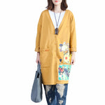 Women's Trench Cat Printing V-Neck Coats