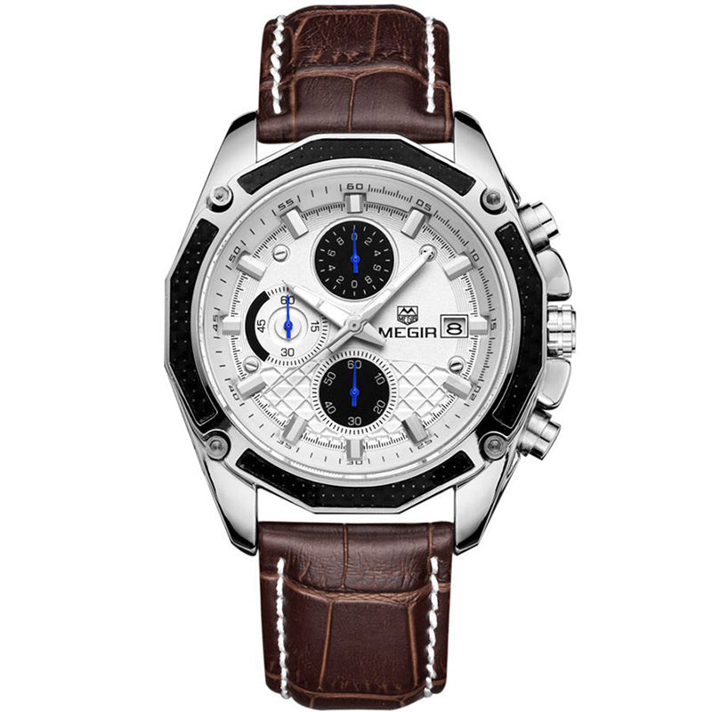 Official Quartz Men Watches Fashion Genuine Leather Chronograph Watch Clock for Gentle Men Male Students Reloj Hombre