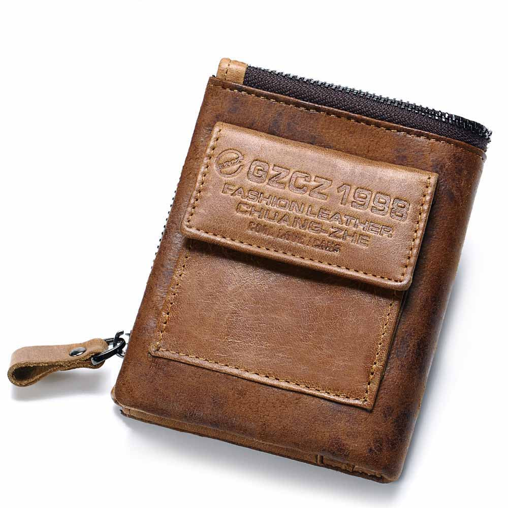 Fashion Genuine Leather Zipper Men Wallet