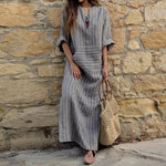 Women Striped Maxi Vintage Loose Dresses