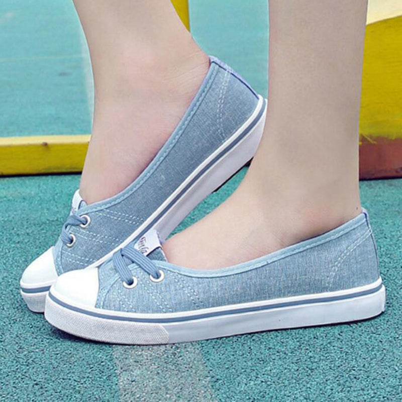 Women Lace-Up Fabric Casual Shoes