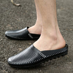 Breathable Hollow Black Water Shoes Mens Half Loafers Genuine Leather Italian Summer Luxury Brand Slipon Men Espadrilles