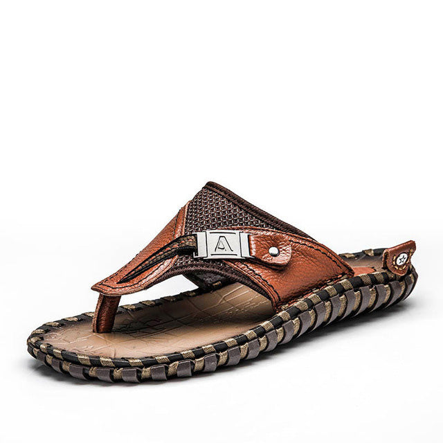 Genuine Leather Summer Men Slippers Beach Sandals Comfort Men Casual Shoes Fashion Men Flip Flops Drop Shipping