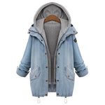 Hooded Drawstring Boyfriend Trends Jean Swish Pockets Two Piece Coat 2018 Blue Long Sleeve Single Breasted Denim Jacket