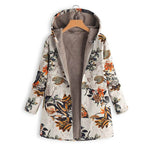 Women Floral Print Hooded Oversize Coats