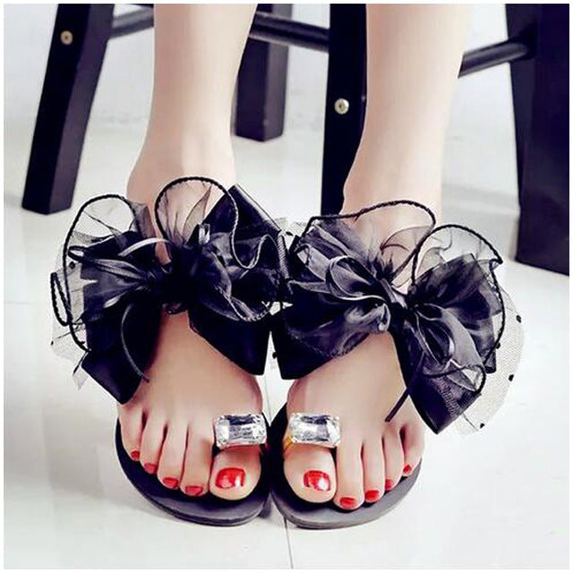 Luxury Lace Organza Bow Crystal Flat Slippers