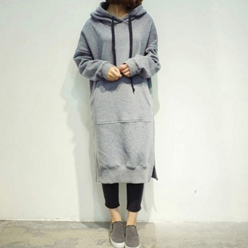 Women Casual Loose Hooded Dress