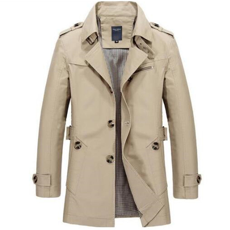 Men Trench Cotton Long Jackets