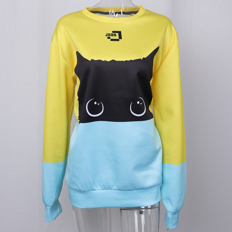 Cute Cat 3d Sweatshirt Women Men Pullovers