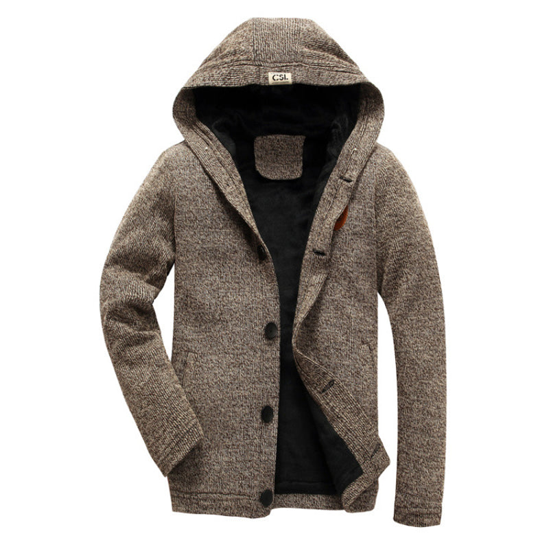 Men Thick Hooded Cardigan Coat