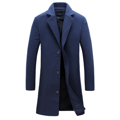 Plus Size Men Fashion Long Winter Windproof Outerwear