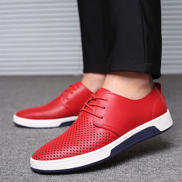 2018 Summer Casual Shoes Men Breathable Leather Men Sneakers Rubber Sole Fashion Design Lace-Up Men's Driving Shoes