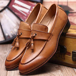 Men Shoes Fashion Leather Doug Casual Flat Tassels Slip-On Driver Dress Loafers Pointed Toe Moccasin Wedding Shoes