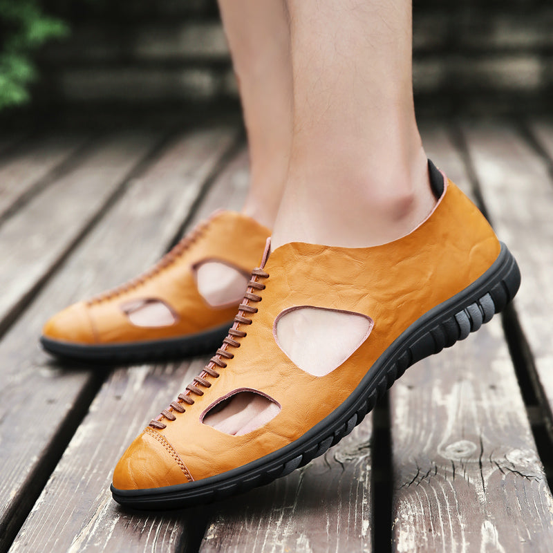 Men Leather Hollow Breathable Sandals