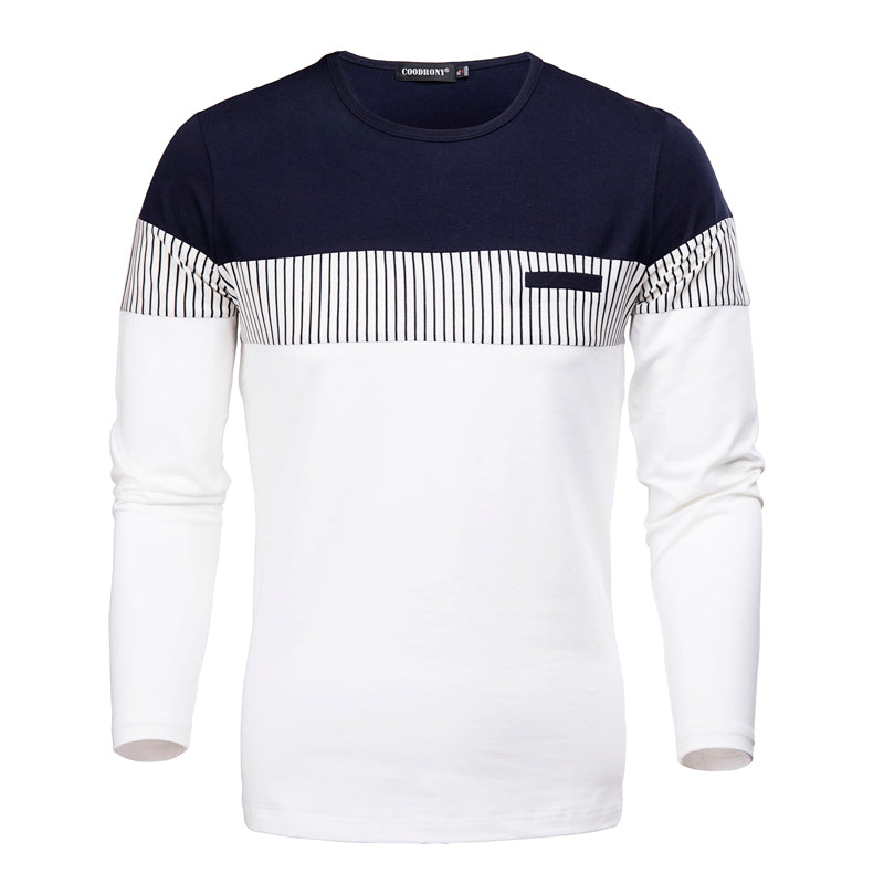 T-Shirt Men 2018 Spring Autumn New Long Sleeve O-Neck T Shirt Men Brand Clothing Fashion Patchwork Cotton Tee Tops 7622