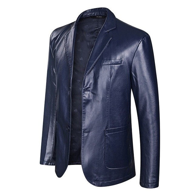 Plus Size Faux Leather Men's Jackets(Get $8 Off for First order)