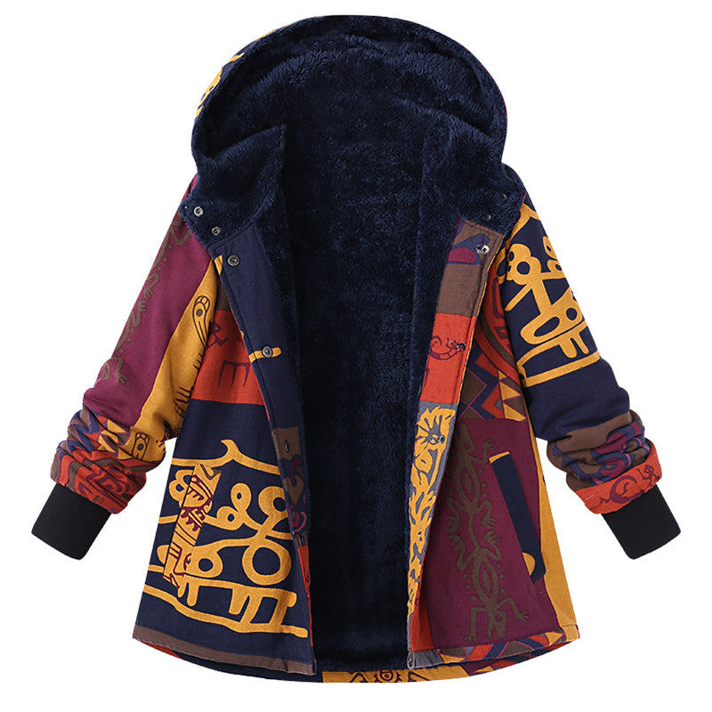 Hooded Coat Print Outerwear Jacket