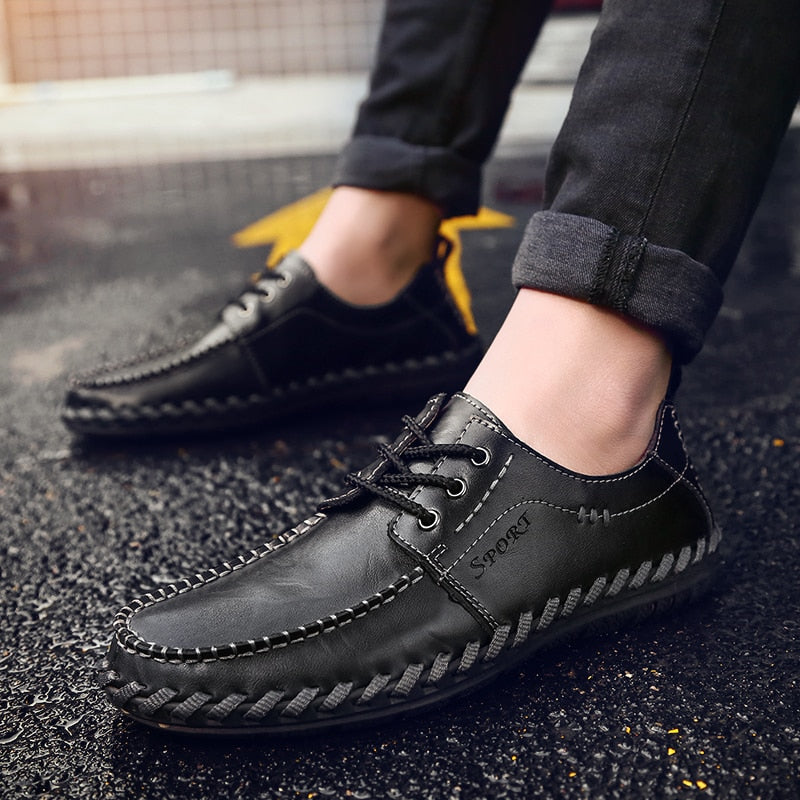 Fashion Comfortable Casual Shoes Loafers Men Shoes Quality Genuine Leather Shoes Men Flats Hot Sale Moccasins Shoes