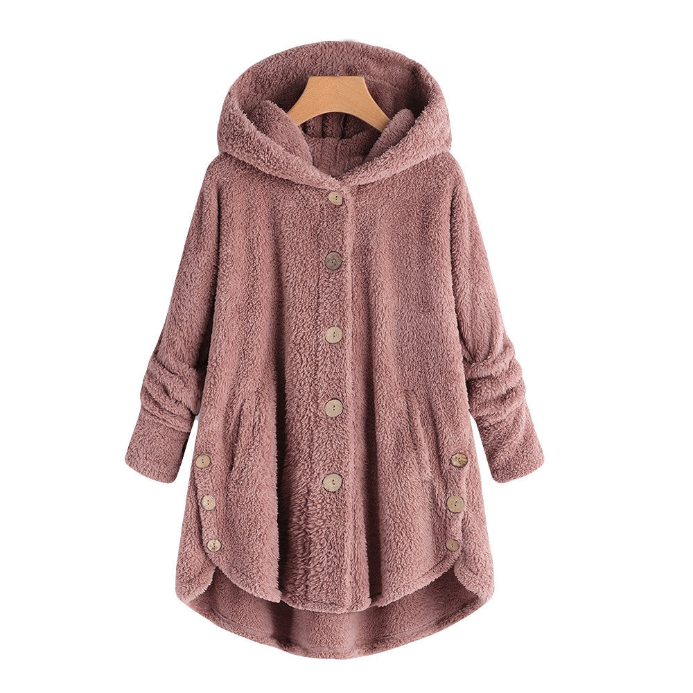 Fleece Hooded Asymmetrical Hem Coat