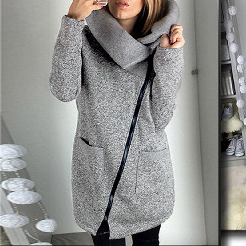 Women Casual Solid Turtleneck Zipper Loose Irregular Coat