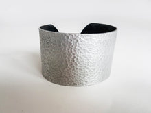 2 Inch Hammered Metal & Leather Cuffs