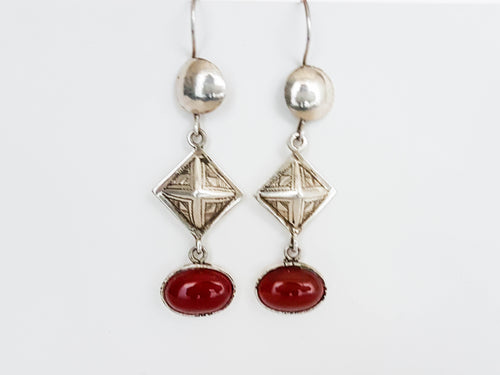 Sterling Silver Red Drop Earrings