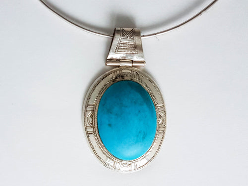 Vintage Sterling Silver & Turquoise Oval Pendant Pendant