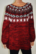 New Style&Co Women's Bishop Sleeves Red Geometric Knitted Tunic Sweater Top XL - evorr.com