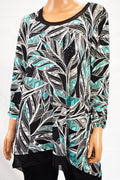 JM Collection Womens Green Embellished Printed Ruched Tunic Blouse Top Plus 1X - evorr.com