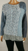 New STYLE&CO Women Long Sleeve Blue Mix Knit Pullover Tunic Sweater Plus 1X - evorr.com