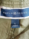 KAREN SCOTT Women Green Pull on Dahlia Capri Cropped Pants Drawstring Tie Hem L - evorr.com