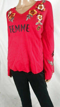 INC Femme Women Floral Embroidered Bell Sleeve Red Pullover Sweater Top Plus 1X - evorr.com
