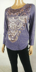 Style&co. Women Long Sleeve Blue Metallic Printed Graphic Blouse Top Plus 16W - evorr.com