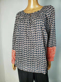 New TOMMY HILFIGER Women Blue Printed Smoke Neck Long Sleeve Blouse Top Plus 1X - evorr.com