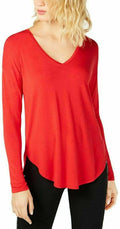 INC International Concepts Womens V-Neck Long Sleeve Hi-Low Red Pullover Top L - evorr.com