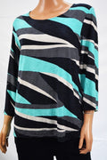New JM Collection Women's 3/4-Sleeve Green Printed Jacquard Blouse Top Plus 1X - evorr.com