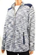 Charter Club Womens Long-Sleeve Blue Space-Dyed Zip-Up Zip-Pocket Jacket Plus 1X - evorr.com