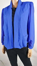 City Chic Women's Roll Long-Sleeve Front-Open Blazer Jacket Shrug Blue Plus 18 - evorr.com